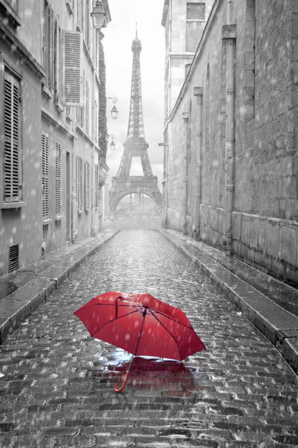 A Paris Back Street (Black and White with Red Umbrella) - Designer Splashback