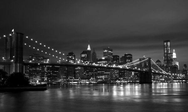 Brooklyn Bridge at Night Black and White – Designer Splashback