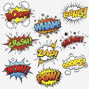 Comic Sound Effects – Designer Splashback