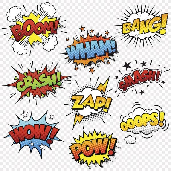 Comic Sound Effects – Designer Splashback