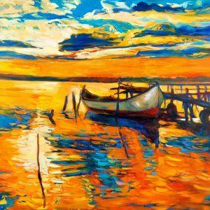 Moored Boat - Designer Splashback