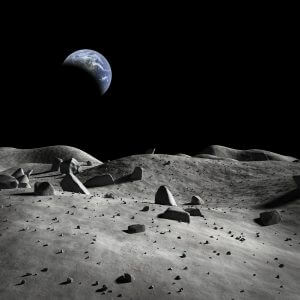 Earth Viewed from the Moon ( Black and White with Coloured Earth) – Designer Splashback