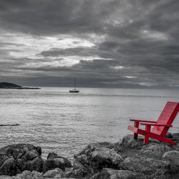 Red Armchair on Black and White - Designer Splashbacks