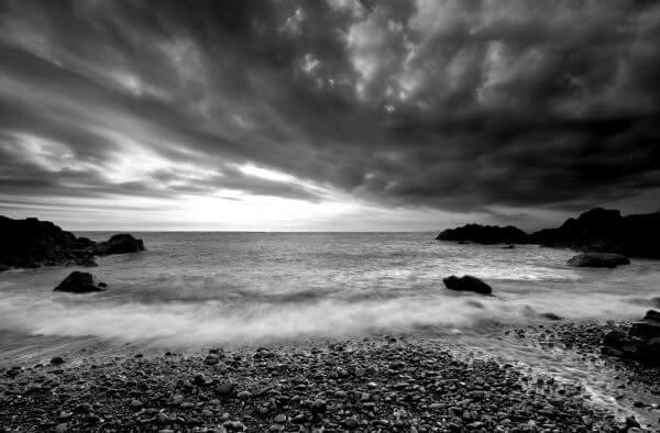 Waves Crashing Onto Beach Black and White - Designer Splashbacks